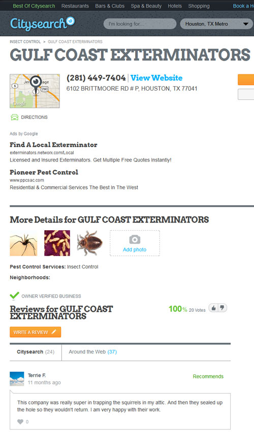Houston pest control company Gulf Coast Exterminators with 100% recommendations on citysearch