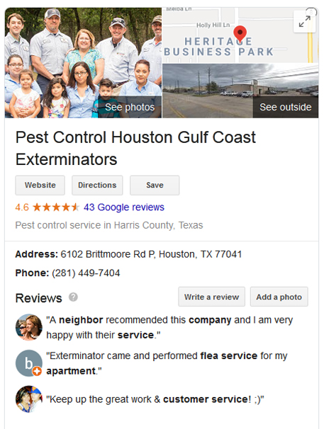 Pest Control Houston Company Gulf Coast Exterminators with great reviews on Google