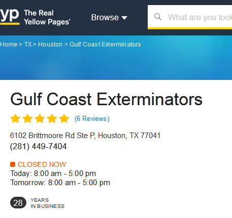 Pest Control Houston company Gulf Coast Exterminators with 5 star reviews on Yellowpages