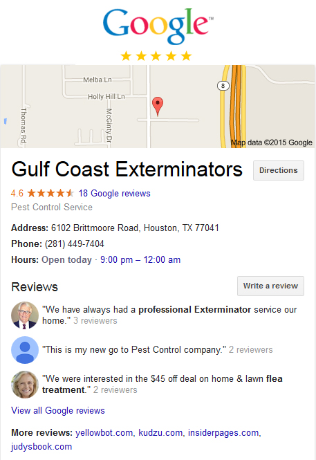 Houston Flea control company Gulf Coast Exterminators with 5 star reviews on Google