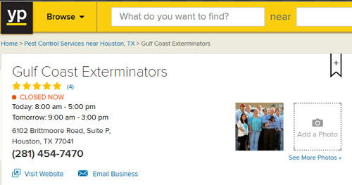 Houston Termite control company Gulf Coast Exterminators with 5 star reviews on Yellowpages